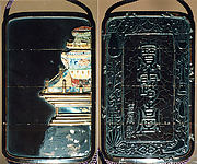 Case (Inrō) with Design taken from 'Fang Shi Mopu' (Book of Ink Cake Designs) (obverse); Large Jar on Stand (reverse)