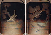 Case (Inrō) with Design of Bird Seated on Snowy Pine Branch (obverse); Bird beside Red Berry Plant (reverse)