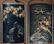 Case (Inrō) with Design of Two Cranes beneath a Flowering Cherry (obverse); Pheasant beside a Peony (reverse)
