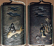 Case (Inrō) with Design of Urashima Tarō Riding a Fish among Waves (obverse); Dragon King and His Daughter on Shore (reverse)