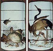Case (Inrō) with Design of Standing Cranes (obverse); Tortoises beside Stones (reverse)