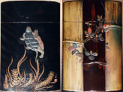 Case (Inrō) with Design of Tortoise Swimming above Water Weeds (obverse);  Bamboo stems, Vines (reverse)