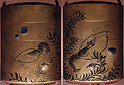 Case (Inrō) with Design of Crawfish and Scattered Shells beside Water Weeds and Plants