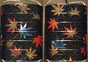 Case (Inrō) with Design of Maple Leaves on Conventionalized Waves
