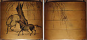 Case (Inrō) with Design of Two Horses beneath Leafless Weeping Willow Tree