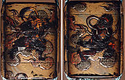 Case (Inrō) with Design of Bishamon on Clouds Pursuing Demon (Oni) Holding Sacred Gem