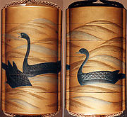 Case (Inrō) with Design of Three Geese Swimming and Diving on Waves