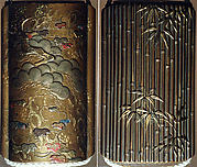 Case (Inrō) with Design of Bamboo and Pine Tree with Red-Leafed Creeper (obverse); Bamboo Leaves (reverse)