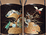 Case (Inrō) with Design of Flowering Plants with Dragonfly and Insects