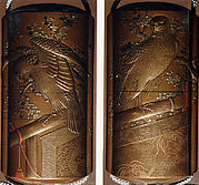 Case (Inrō) with Design of Falcon on Perches and Blossoming Plum Tree