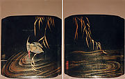 Case (Inrō) with Design of Kingfisher on Reed Stalk above Waves (obverse) Insects on Water Surface (reverse)