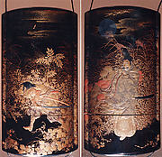 Case (Inrō) with Design of the Courtier Yasusuke Playing Flute beneath Full Moon (obverse); His Brother Kidomaru Hiding among Autumn Grasses (reverse)