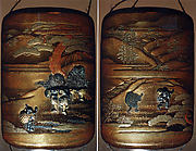 Case (Inrō) with Design of People (Benkei and Yoshitsune)Talking to Child Carrying a Large Basket (obverse); Two Running Children (reverse)