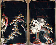 Case (Inrō) with Design of Bugaku Dance Hat on Stand beside Pine Tree (obverse); Dance Drum (reverse)
