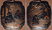 Case (Inrō) with Design of Chinese Sages on Verandah beside Rocks and Trees