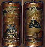 Case (Inrō) with Design of Daimyo Seated on a Platform (obverse); Warrior Reading a Scroll (reverse)
