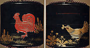 Case (Inrō) with Design of Chickens beside Spring Plants