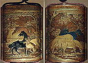 Case (Inrō) with Design of Horses among Cherry Blossom Trees