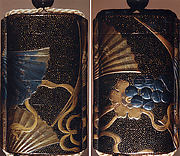 Case (Inrō) with Design of Dancer's Bells and Fans with Plum Blossoms, Pines and Grass