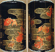 Case (Inrō) with Design of Goldfish and Reed with Wave Pattern