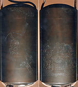 Case (Inrō) with Design of Persons with Mortar Making Mochi (obverse); Two Persons Shooting with Bow and Arrow (reverse)
