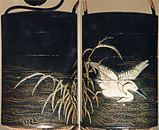 Case (Inrō) with Design of Heron Wading in Shallow Water beside Reeds