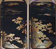 Case (Inrō) with Design of Pine Trees Growing from Rocks beneath Clouds