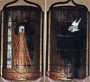 Case (Inrō) with Design of Masts of Sailing Boats (obverse); Bird in Flight (reverse)
