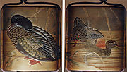 Case (Inrō) with Design of Duck Standing on Shore beside Reeds (obverse); Duck Diving into Water (reverse)