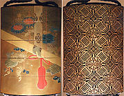 Case (Inrō) with Design of Chrysanthemums behind Bamboo Blind (Sudare) (obverse); Brocade Pattern (reverse)