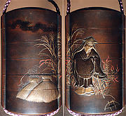 "Case (Inrō) with a Fox from the Kyōgen Play The Fox Hunter (Tsurigitsune); Hunter behind Haystacks from the Kyōgen Play ""Hakuzōsu"" (reverse)"