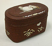 Basket Box with Design of Two Chinese Children and Snowball