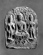 Tile with Buddhist Trinity in Relief