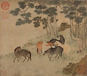 Horses in Landscape with Attendant