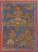 Kamatha Performing the Five Fire Penances (top) and Parsvanatha Rescuing the Snake Dharana (bottom): Folio from a Kalpasutra Manuscript