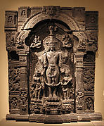 Vishnu with His Consorts, Lakshmi and Sarasvati