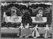 Krishna and Radha Seated on a Platform in Landscape with Dancers and Attendant