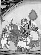 Raja on Horseback with Attendants