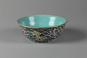 Bowl with Daoist immortals and waves