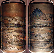 Case (Inrō) with Design of Mount Fuji seen above Rice Fields (obverse);  Pines and Cloud Bands in Autumn (reverse)