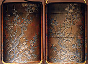 Case (Inrō) with Design of Young Pine Trees behind Flowering Plum Tree