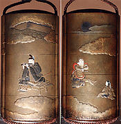 Case (Inrō) with Design of Courtier Accompanying Raryōō (obverse); Nobleman Playing Flute (reverse)