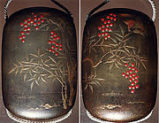 Case (Inrō) with Design of Sparrow in Flight above Manten Plants with Red Berries