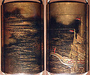 Case (Inrō) with Design of Waves and Clouds (obverse); Person Standing on Stern of Boat (reverse)
