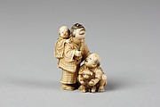 Netsuke of Children with Puppy