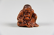 Netsuke of Old Woman with a Toad in her Hand (Gama Sennin)
