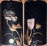 Case (Inrō) with Design of Bee Flying beside Flowering Poppies