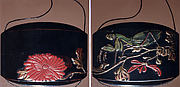 Case (Inrō) with Design of Praying Mantis Standing on a Flowering Chrysanthemum (obverse); Large Red Blossom (reverse)