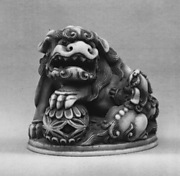 Netsuke of Lion with Ball and Cub