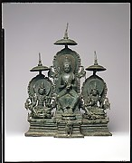 Enthroned Buddha Attended by the Bodhisattvas Avalokiteshvara and Vajrapani